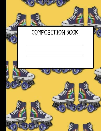 Retro Rainbow Roller Skates College Ruled Composition Notebook ()