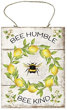 Lemon Bee Humble Bee Kind Wood Sign for Home Decor,Wood Wall Plaque with Sayings,Rustic Farmhouse Decor Sign,Novelty Gifts