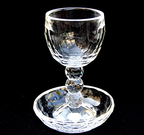 Kiddush Crystal Cup Goblet with Coaster Israel Judaica Shabbat 6