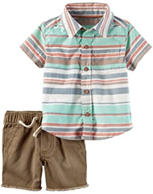 Boys 2-Piece Poplin Button-Front Striped Shirt & Twill Short Set (NB)