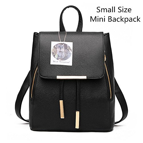 Women Ladies Rucksack bag Fashion Black Shoulder Leather PU Bag Backpack Girls KANGAROO WINK Travel Small xgTAwfq1a