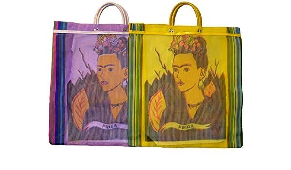 Varios Frida Tote bolsa de mercado reciclado 18 SQ (México Folk Art reciclado botellas de plástico Cable de impreso: Amazon.es: Hogar