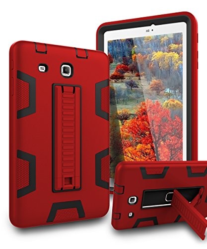 TIANLI Samsung Galaxy Tab E 8.0 Case Kickstand Three Layer Hybrid Shockproof High Impact Protective Case for Tablet Samsung Galaxy Tab E 8.0,Red Black