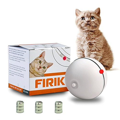 FIRIK Toys For Cat - Ball Interactive Automatic Rolling Light Entertainment Exercise For Cats And Puppy Dogs(9 Batteries Included)