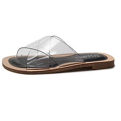 fc5d2799f8e5 GIY Women s Summer Flip Flop Open Toe Clear Jelly Flat Slide Sandal Slippers  Black