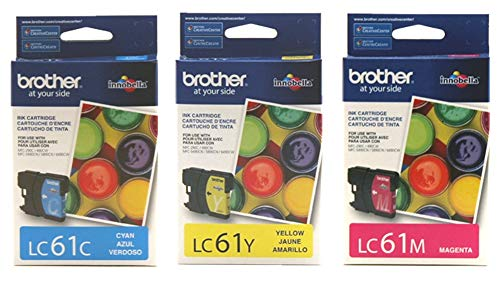 - Brother LC61C, LC61M, LC61Y Ink Cartridge Set of Cyan, Magenta, Yellow - 1 Each in Retail Packing