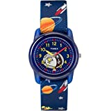 Timex Boys TW2R41800 Time Machines Analog x Peanuts: Blue Woodstock & Snoopy/Outer Space Elastic Fabric Strap Watch