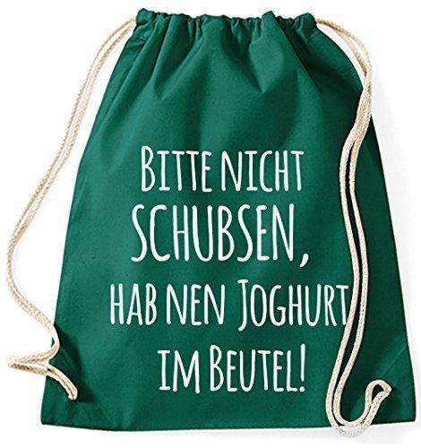 Jute Bag Gym Bag Sports Bags Cloth Bag Cotton Bag Backpack Gymsack Please Nudge, Nen Have Yogurt In The Bag - Lilac, Purple Green