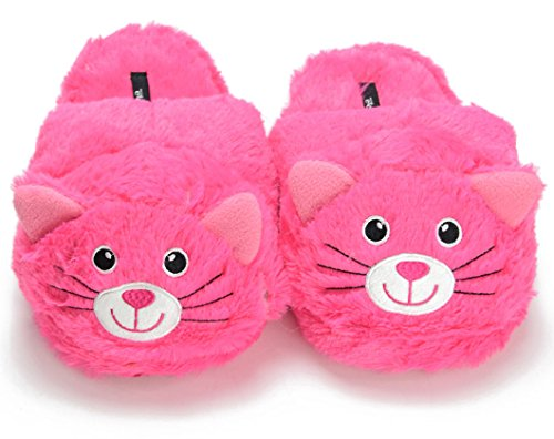 Women's Cozy Slip On Pink Animal Cat House Indoor Slippers