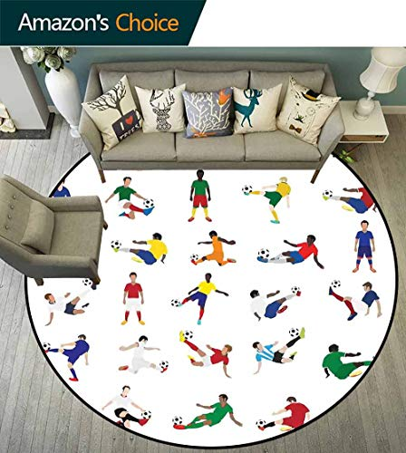 - Sports Decor Round Carpet,Collection of Soccer Players League Pastime Practicing Different Poses Waterproof and Easy Clean,D-55