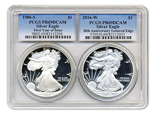 1986-S and 2016-W American Silver Eagle Proof 30th Anniversary Set PCGS PR-69