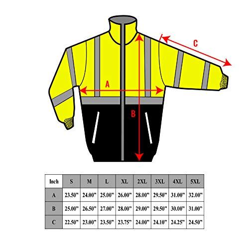 New York Hi-Viz Workwear WJ9012-L Men's ANSI Class 3 High Visibility Bomber Safety Jacket, Waterproof (Large, Lime) by New York Hi-Viz Workwear (Image #9)