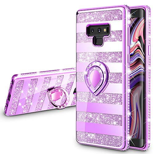 VEGO Galaxy Note 9 Case Glitter Bling Diamond Rhinestone Bumper Sparkly Protective Grip Case with Kickstand Ring Stand for Women Girls for Samsung Galaxy Note 9 (Stripe Purple)