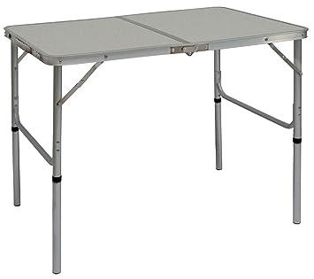 Tavoli Pieghevoli Pic Nic.Amanka Tavolino Da Pic Nic 90x60x70cm Tavolo Da Campeggio In Alluminio Altezza Regolabile Pieghevole Formato Valigia Grigio Chiaro