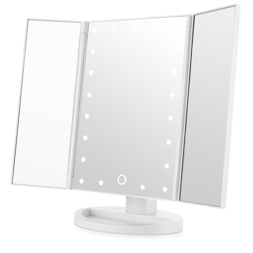 Easehold Led Vanity Make Up Tri-Fold with 21Pcs Lights 180 Degree Free Rotation Table Countertop Cosmetic Bathroom Mirror, White