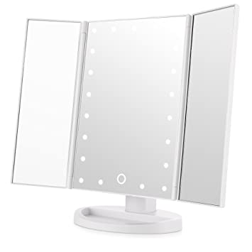 Easehold Led Lighted Vanity Mirror Make Up Tri Fold With 21Pcs Lights 180  Degree Free