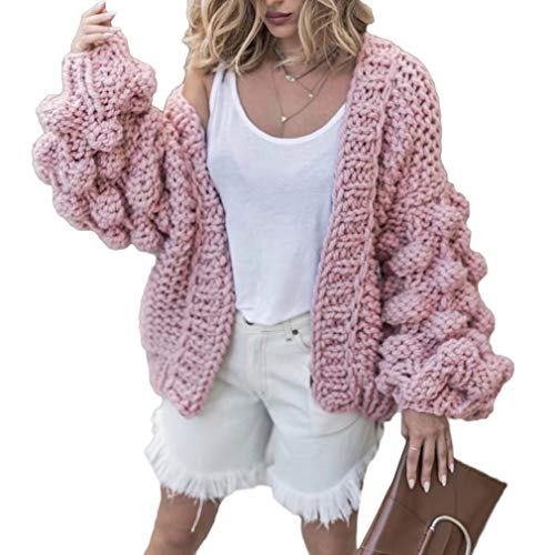 - Women Cardigan Sweater Hand Knit Pom-Pom Dress Sexy Open Front Warm Pink