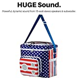 THE #1 American Flag Cooler with Speakers & Subwoofer (Bluetooth, 15-Watt) for Parties / Festivals / Boat / Beach. Rechargeable Speaker Cooler, Works with iPhone & Android (2018 Edition)