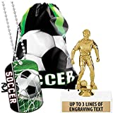 Crown Awards Soccer Goodie Bags, Soccer Favors for Soccer Themed Party Supplies Comes with Custom Girls Soccer Dribbler Trophy, Soccer Dog Tag and Soccer Drawstring 20 Pack Prime