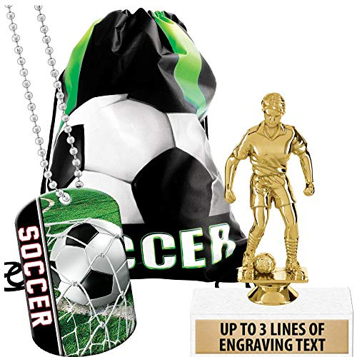 Crown Awards Soccer Goodie Bags, Soccer Favors for Soccer Themed Party Supplies Comes with Custom Girls Soccer Dribbler Trophy, Soccer Dog Tag and Soccer Drawstring 20 Pack Prime by Crown Awards (Image #4)