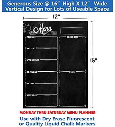 Menu Meal Planner Dry Erase Magnetic for Refrigerator. 3 YEAR WARRANTY - MONDAY thru SATURDAY Chalkboard Style Photo #3