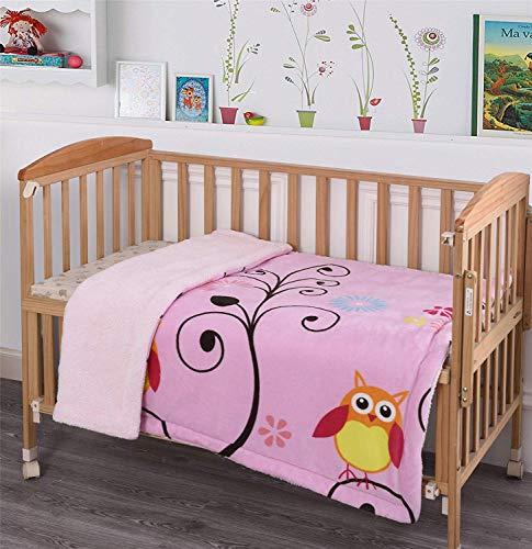 Elegant Homes Owls Branch Kids Soft & Warm Sherpa Baby Toddler Girl Blanket Printed Borrego Stroller or Baby Crib or Toddler Bed Blanket Plush Throw 40X50 (Owl Branch)