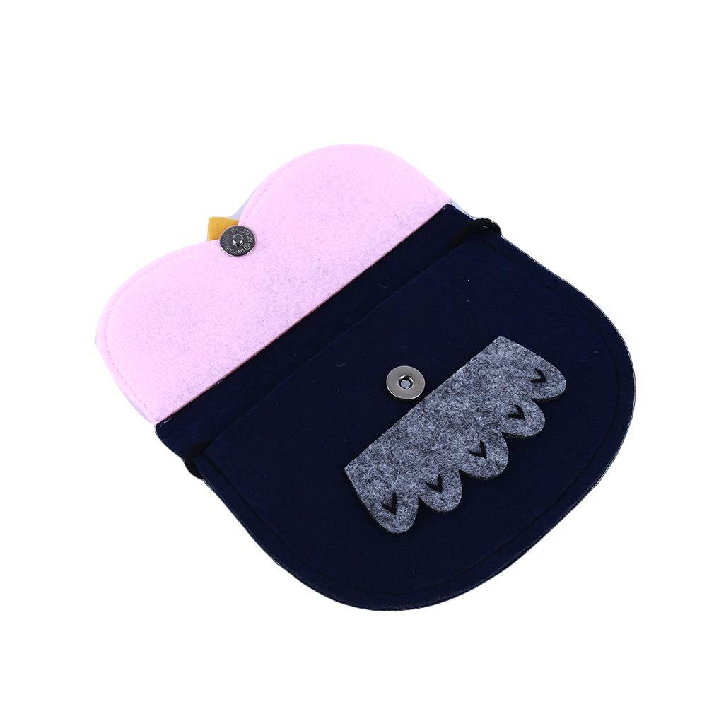 Dolland Cartoon Crossbody Bag Owl Printing Non-Woven Messenger Handbag for Children,Blue