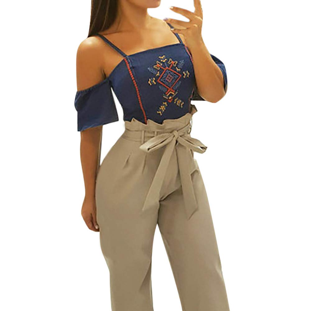 Pervobs Women Solid Mid Elastic Waist Relaxed Fit All Day Straight Long Loose Pants With Lace Up(S, Khaki)