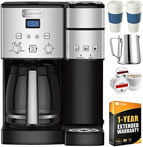 Cuisinart SS-15 12-Cup Coffee Maker and Single-Serve Brewer, Stainless w K Cups, Carafe, to Go Cups and Extended Warranty
