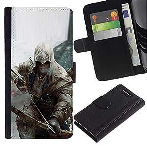 LECELL--Cuero de la tarjeta la carpeta del tirón Smartphone Slots Protección Holder For Sony Xperia Z3 Compact -- Bow Assassin --