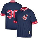 Joe Carter Cleveland Indians #30 Men's Mitchell & Ness 1/4 Zip Mesh Batting Practice Jersey (Large (44))