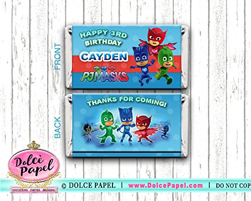 10 PJ MASKS Party Favors Mini Hershey Candy Bar Wrappers