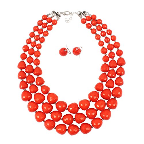 NA Kosmos-LI 3 Layer Acrylic Orange Bead Multi Strand - Orange Necklace Statement