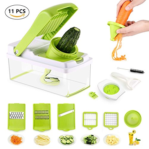 Vegetable Slicer Dicer Food Chopper Kitchen Cutter, WEOOLA Cheese Grater with Stainless Steel Adjustable Multi Blades and Storage Container for Onion Potato Tomato Fruit Extra Peeler Included  Price: $27.99