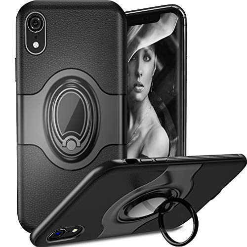 iPhone Xr Case with Ring Holder Kickstand, 360 Degree Rotation Ring Grip Stand [Work with Magnetic Car Mount] Slim Protective Cover for Apple iPhone Xr(6.1