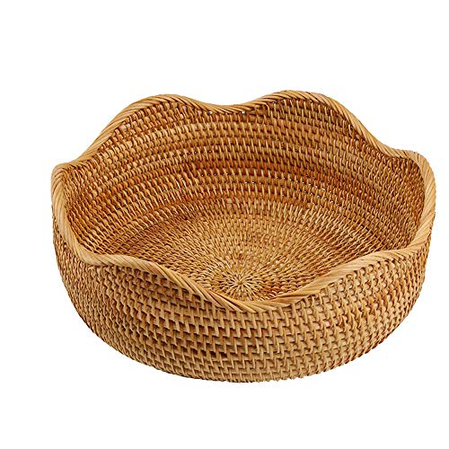 amololo Handmade Rattan Round Fruit Basket Food Storage Bowls Kitchen Organizer Snack Serving Bowl (Large 11
