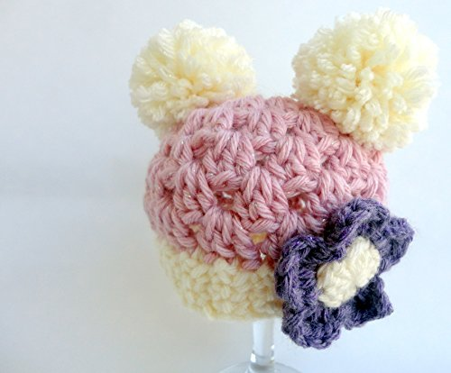 Baby Girl 0-3 Month Hand Knitted Crochet Bonnet /& Booties Pink Pom Pom Hat Shoes