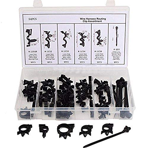 54pc Assortments Car Retainer Mould Harness Wire Loom Routing Wire Harness Clips: