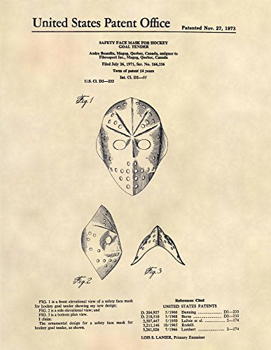 Goalie Mask Art - Patent Print - Jason Voorhees Goalie Mask - Patent Art Poster (8.5 x 11