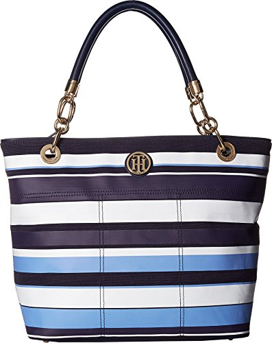 Tommy Hilfiger Women's Signature Canvas Top Zip Tote Navy/Cobalt One - Tommy Hilfiger Height