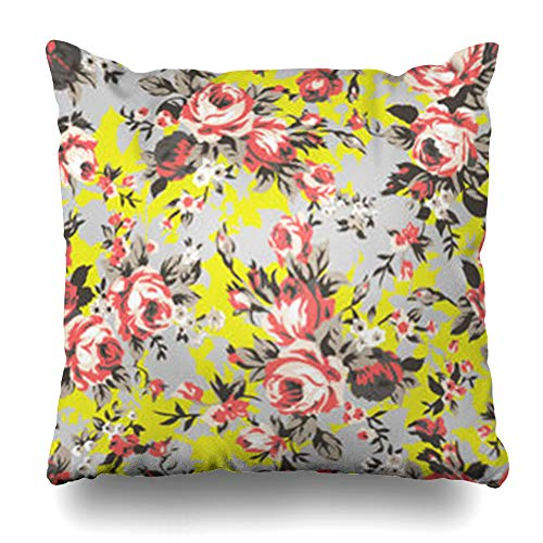 Hitime Throw Pillow Cover Drawing Accent Shabby Chic Granny Vintage Chintz Roses in Ly Pattern Abstract Watercolor Decorative Pillowcase Square Size 18 x 18 Inches Home Cushion ()