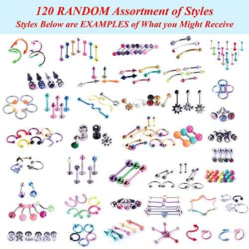 BodyJ4You 156PC Body Piercing Kit Lot 14G 16G Belly Ring Labret Tongue Tragus Random Mix Jewelry 4