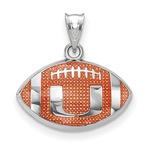 Sterling Silver Univ. of Miami Enameled Football Pendant, Sterling Silver]()