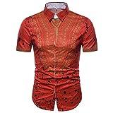 UPLOTER Men's Short Sleeve African Dashiki Graphic Hipster Hip Hop Curved Hem T-Shirt (Red, XL)