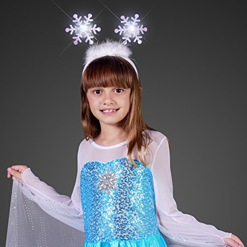 Light Up Snowflakes Head Boppers Headband with White Flashing LED Lights -