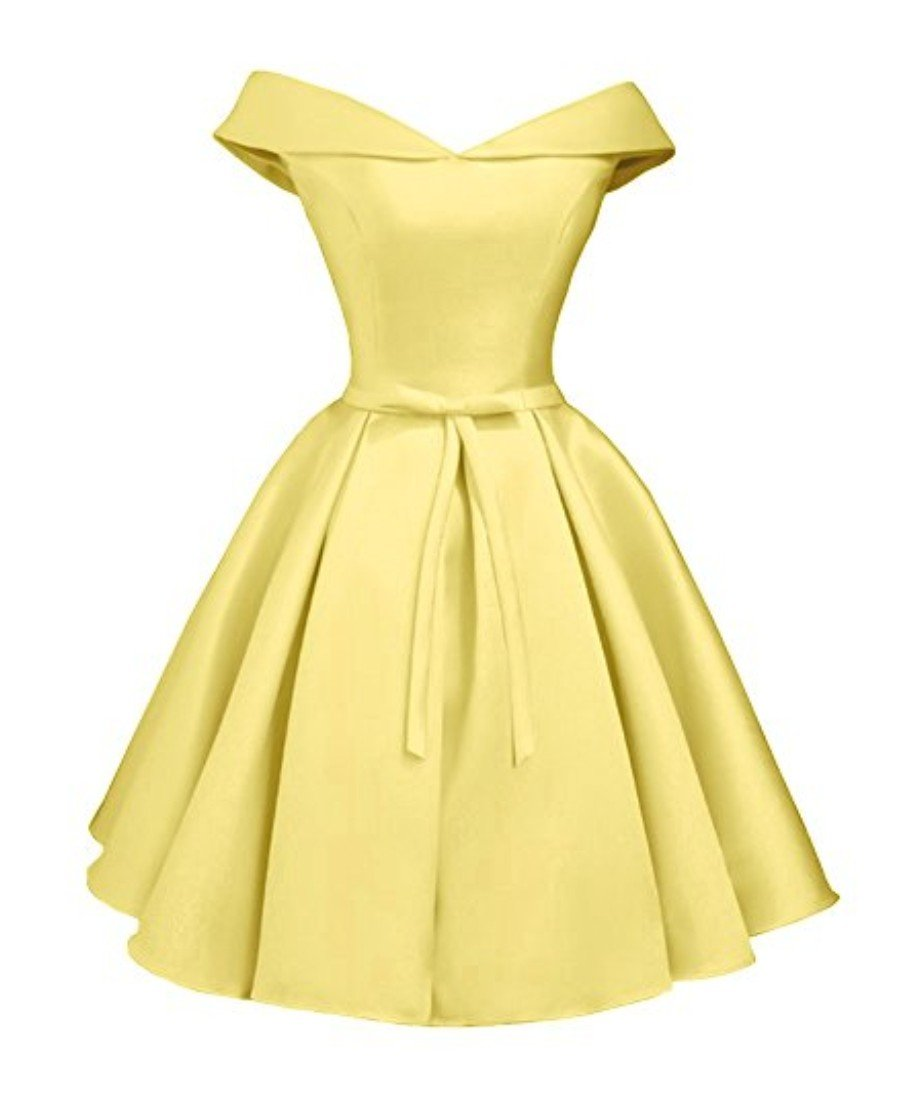 Beilite Women's Off Shoulder Satin A Line Short Homecoming Prom Dresses Yellow 6
