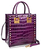 PIJUSHI Women Top Handle Satchel Handbags Tote Purse Crocodile Leather Bag 6898(One Size, Violet Croco)
