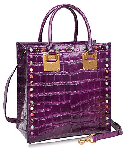 PIJUSHI Women Top Handle Satchel Handbags Tote Purse Crocodile Leather Bag 6898(One Size, Violet Croco) by PIJUSHI