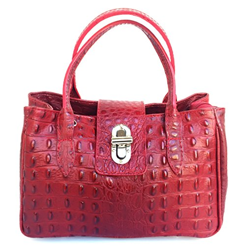 SUPERFLYBAGS Borsa Bauletto Donna in Vera Pelle stampa Coccodrillo modello Milena Small Made in Italy Rosso