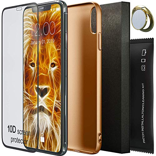 PNEUBONIC iPhone Xs Max Case - Slim Fit Ultra Thin Hard Plastic Matte Apple iPhone Xs Max Case 10D Screen Protector and Ring Stand Holder - Durable Anti-Slip TPU Case for iPhone Xs Max 6.5 inch Gold
